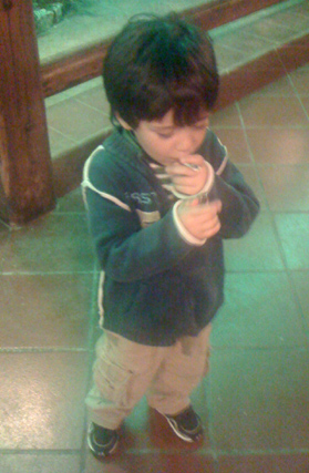 Gian's son learning to smoke