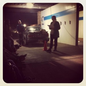 Alicia Fyne reads stuff and gets her car washed, with Joseph Green (standing, left)