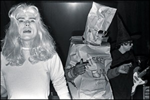 Glenn O'Brien in drag, Fab Five Freddy in bag. TV Party, 1978.