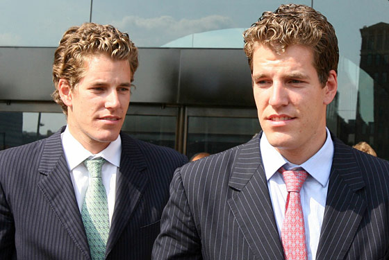 the winklevoss twins eat from the same bowl of spaghetti, which they both creamed in before dinner
